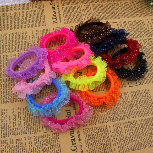 Hair Accessories - 10pcs/lot Lace Hair Holders Elastics 2016 New 12 Colours Fashion Candy Colours Child Girls' Rubberbands Tie Gum Hair Accessories - 10 pcs mix random  jetcube
