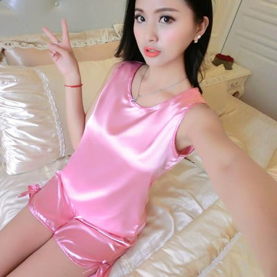 Pajama Sets - 1005 Ladies Sexy Silk Satin Pyjamas Femme Sleeveless Pijama Feminino Ice Silk Pajama Set Sleepwear Summer Homewear For Women - 11 / M  jetcube
