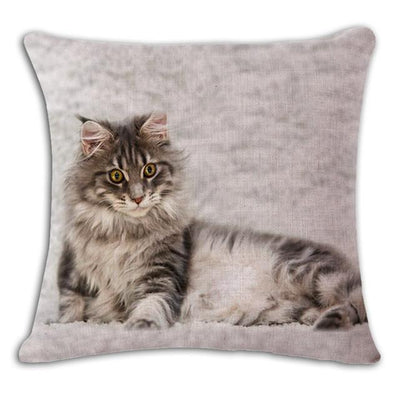 Cushion Cover - 18'' Square Printed Linen Cushion Cover Colorful Cartoon Cats Decorative Sofa Pillow Case Fashion Car Customized Drop Shipping - 11  jetcube
