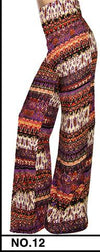 Pants & Capris - 2016 High Waist Loose Pants Palazzo Wide Leg Pants Floral Printing Tribal Pattern Plus Size Pants Palazzo Pants Plus Size 238 - 12 / S  jetcube