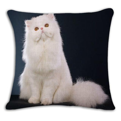 Cushion Cover - 18'' Square Printed Linen Cushion Cover Colorful Cartoon Cats Decorative Sofa Pillow Case Fashion Car Customized Drop Shipping - 12  jetcube