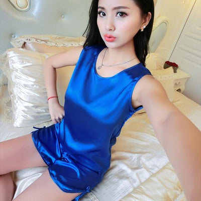 Pajama Sets - 1005 Ladies Sexy Silk Satin Pyjamas Femme Sleeveless Pijama Feminino Ice Silk Pajama Set Sleepwear Summer Homewear For Women - 12 / M  jetcube