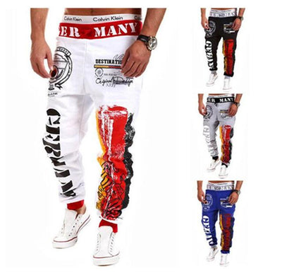 - 2016 Fashion Men Jogger Pants Casual Skinny Sweatpants Letter Print Pants Trousers Bodybuilding Harem Pants Men Pants - 13 / M  jetcube