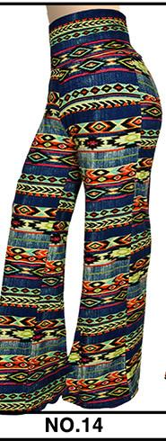 Pants & Capris - 2016 High Waist Loose Pants Palazzo Wide Leg Pants Floral Printing Tribal Pattern Plus Size Pants Palazzo Pants Plus Size 238 - 14 / S  jetcube