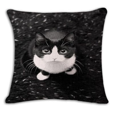 Cushion Cover - 18'' Square Printed Linen Cushion Cover Colorful Cartoon Cats Decorative Sofa Pillow Case Fashion Car Customized Drop Shipping - 14  jetcube