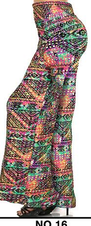 Pants & Capris - 2016 High Waist Loose Pants Palazzo Wide Leg Pants Floral Printing Tribal Pattern Plus Size Pants Palazzo Pants Plus Size 238 - 16 / S  jetcube