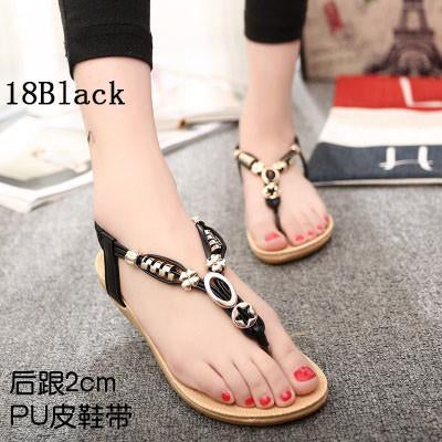 Womens Shoes - 18 Colors 2017 Summer Women Sandals Flat Flip Flops Gladiator Open Toe Women Shoes Buckle Strap Casual Beach Shoes - 18Black / 6  jetcube