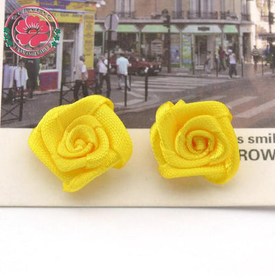 Hair Accessories - 100pcs/lot 1.5cm Fashion Handmade Ribbon Rose Flower For Wedding Decoration  Free Shipping 1-35 - 1  jetcube