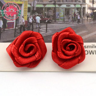 Hair Accessories - 100pcs/lot 1.5cm Fashion Handmade Ribbon Rose Flower For Wedding Decoration  Free Shipping 1-35 - 2  jetcube