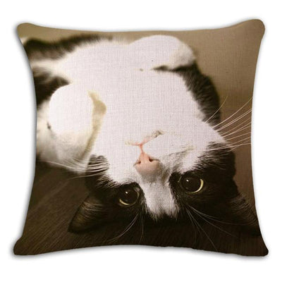 Cushion Cover - 18'' Square Printed Linen Cushion Cover Colorful Cartoon Cats Decorative Sofa Pillow Case Fashion Car Customized Drop Shipping - 2  jetcube