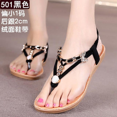 Womens Shoes - 18 Colors 2017 Summer Women Sandals Flat Flip Flops Gladiator Open Toe Women Shoes Buckle Strap Casual Beach Shoes - 501Black / 6  jetcube