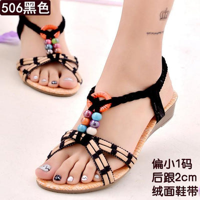 Womens Shoes - 18 Colors 2017 Summer Women Sandals Flat Flip Flops Gladiator Open Toe Women Shoes Buckle Strap Casual Beach Shoes - 506bBlack / 6  jetcube