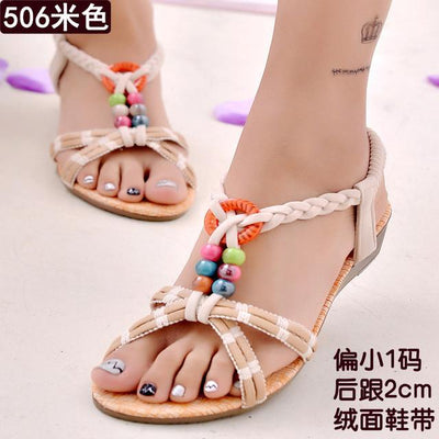 Womens Shoes - 18 Colors 2017 Summer Women Sandals Flat Flip Flops Gladiator Open Toe Women Shoes Buckle Strap Casual Beach Shoes - 506beige / 6  jetcube