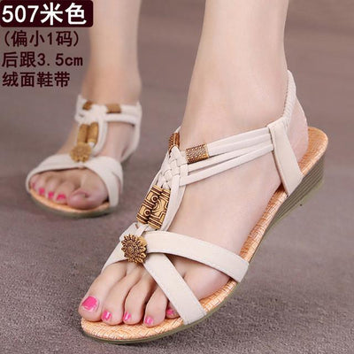 Womens Shoes - 18 Colors 2017 Summer Women Sandals Flat Flip Flops Gladiator Open Toe Women Shoes Buckle Strap Casual Beach Shoes - 507Beige / 6  jetcube
