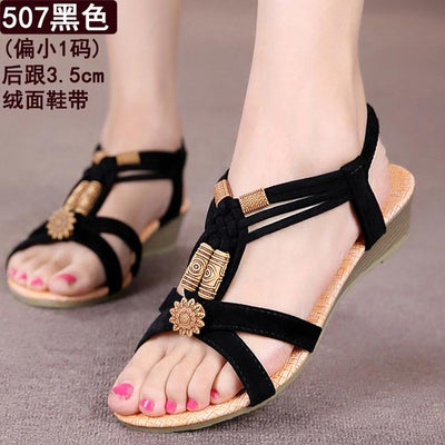 Womens Shoes - 18 Colors 2017 Summer Women Sandals Flat Flip Flops Gladiator Open Toe Women Shoes Buckle Strap Casual Beach Shoes - 507Black / 6  jetcube