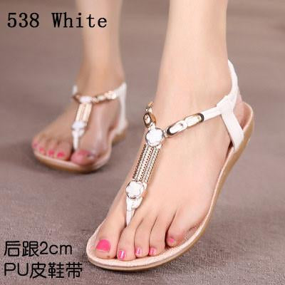 Womens Shoes - 18 Colors 2017 Summer Women Sandals Flat Flip Flops Gladiator Open Toe Women Shoes Buckle Strap Casual Beach Shoes - 538White / 6  jetcube