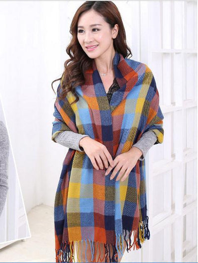 Scarves - 2015 Fashion Wool Women Scarf Spain Desigual Scarf Plaid Thick Large Scarf Women Warp echarpes Scarves Shawl for Woman - 5  jetcube