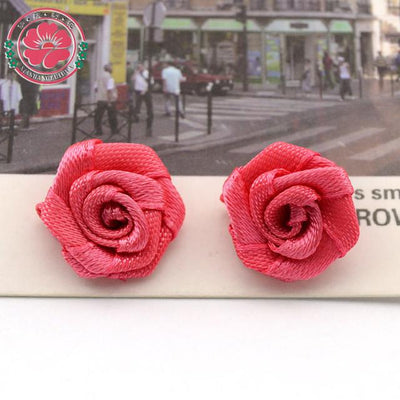 Hair Accessories - 100pcs/lot 1.5cm Fashion Handmade Ribbon Rose Flower For Wedding Decoration  Free Shipping 1-35 - 5  jetcube