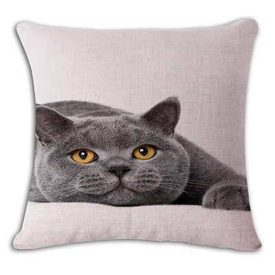 Cushion Cover - 18'' Square Printed Linen Cushion Cover Colorful Cartoon Cats Decorative Sofa Pillow Case Fashion Car Customized Drop Shipping - 5  jetcube