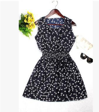 Dresses - 0 Colors Brand Blue stars Fashion Women Sleeveless Florals Print Round Neck Dress 2016 Saias Femininas Summer Clothing S-XXL - 6 / XS  jetcube