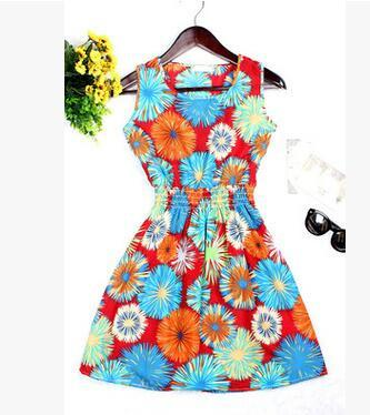 Dresses - 0 Colors Brand Blue stars Fashion Women Sleeveless Florals Print Round Neck Dress 2016 Saias Femininas Summer Clothing S-XXL - 7 / XS  jetcube