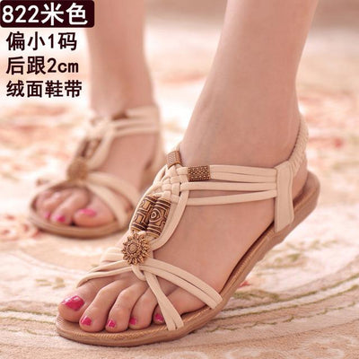 Womens Shoes - 18 Colors 2017 Summer Women Sandals Flat Flip Flops Gladiator Open Toe Women Shoes Buckle Strap Casual Beach Shoes - 822Beige / 6  jetcube
