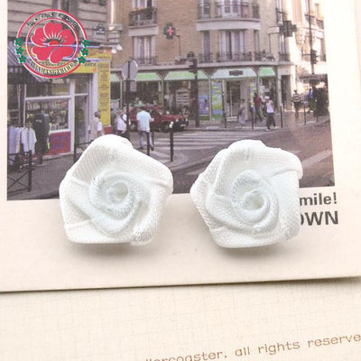 Hair Accessories - 100pcs/lot 1.5cm Fashion Handmade Ribbon Rose Flower For Wedding Decoration  Free Shipping 1-35 - 8  jetcube