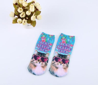 Socks - % Hot Cute 3D Cartoon animal Cat dog Socks Striped Pattern Women Men kids Cotton Sock Female Socks Fashion Casual Short Socks - 8  jetcube