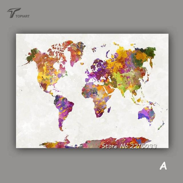 Large Watercolor Canvas Art Picture Maps World Map Wall Painting ...