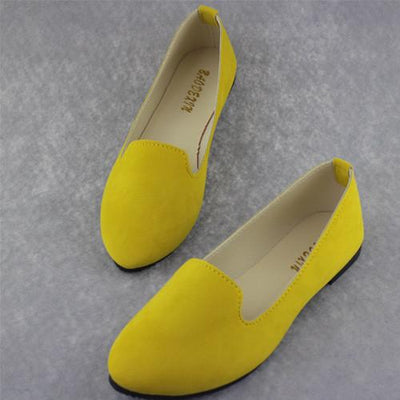 Women's Pumps - 18 Colors 2016 retro style women casual outdoor candy colors suede CASUAL work lady point toe slip round toe shoes  #XE28 - Apricot / 10  jetcube