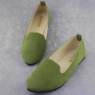 Women's Pumps - 18 Colors 2016 retro style women casual outdoor candy colors suede CASUAL work lady point toe slip round toe shoes  #XE28 - Army Green / 10  jetcube