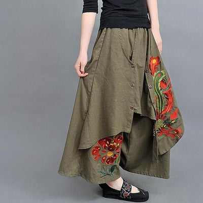 Pants & Capris - #1617 2017 Embroidery floral Casual Fashion Wide leg pants Skirt pants women Linen pants Pantalon mujer Loose Pantalon femme - Army Green  jetcube