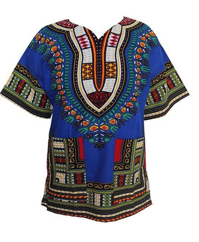 T-Shirts - (fast shipping) 2016 Newest Fashion Design African Traditional Print 100% Cotton Dashiki T-shirt for unisex - BLUE / L  jetcube