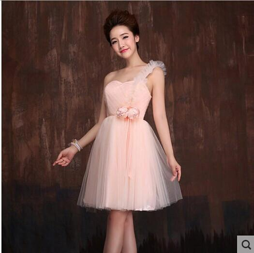 High Low Bridesmaid Dress Light Pink Short Front Long Back Puffy