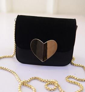Shoulder Bags - !evening bag Peach Heart bag women pu leather handbag Chain Shoulder Bag messenger bag fashion women clutches YK40-906 - Black  jetcube