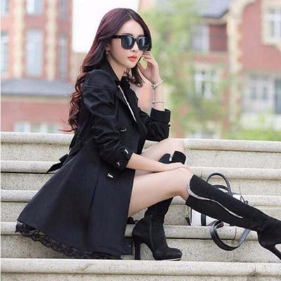 Trench - 1PC Trench Coat For Women Spring Coat Double Breasted Lace Casaco Feminino Autumn Outerwear Abrigos Mujer Q015 - Black / XXL  jetcube