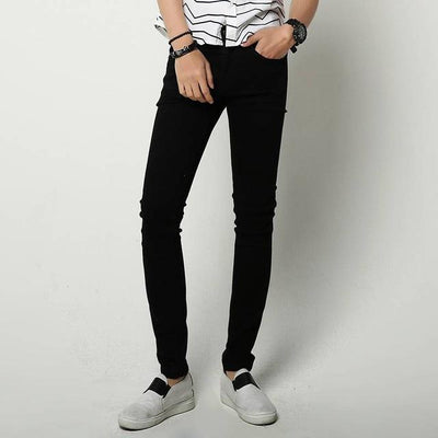 Jeans - #1415 2017 Men summer jeans Thin White/Black ripped jeans men Elastic Pencil jeans Slim Vaqueros hombre distressed Stretch jeans - Black / 27  jetcube