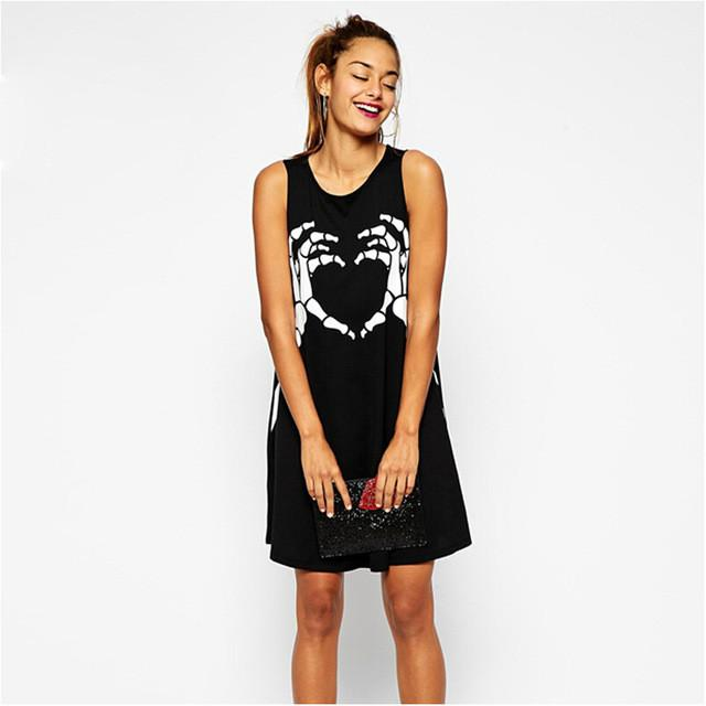Dresses - 2016 fashion women new summer punk style finger skull print vest  loose, casual dress -   jetcube