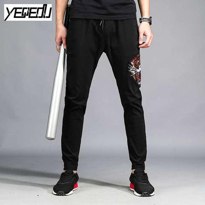 Pants - #1659 Black track pants men Embroidery Casual sweatpants Hip hop Stretch pants Harajuku Streetwear Pantalon hombre Compression -   jetcube