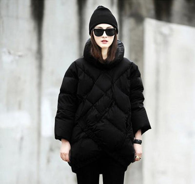 Down Coats - 2015 Best-selling Europe And The United States Women's Black And White Coak Stitching Down Jacket tType Asymmetric Winter Coat - Black / S  jetcube