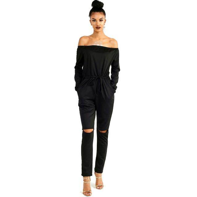 217413bc943 Jumpsuits - 2016 Autumn Off Shoulder Jumpsuits Long Sleeve Slim Rompers  Womens Jumpsuit Sexy Club Party