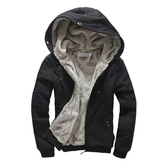 Parka - (Plus Size M-4XL)2016 High Quality Wool Liner Men's Hooded Parkas Men With Thick Keep Warm Coats Winter Men Hoodies - Black / M  jetcube