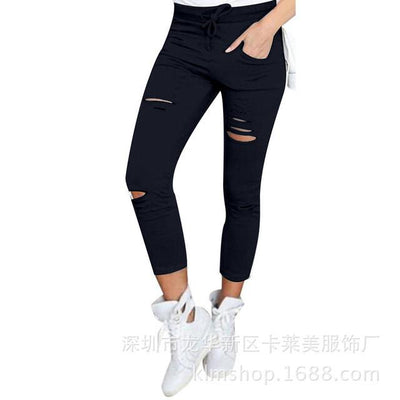 Pants & Capris - 2016 Fashion Women Pants Hollow Out Pants Women Sweatpants Cargo Jogger Pants Skinny Stretch Slim Fit Army Green Pencil Pants - Black / L  jetcube