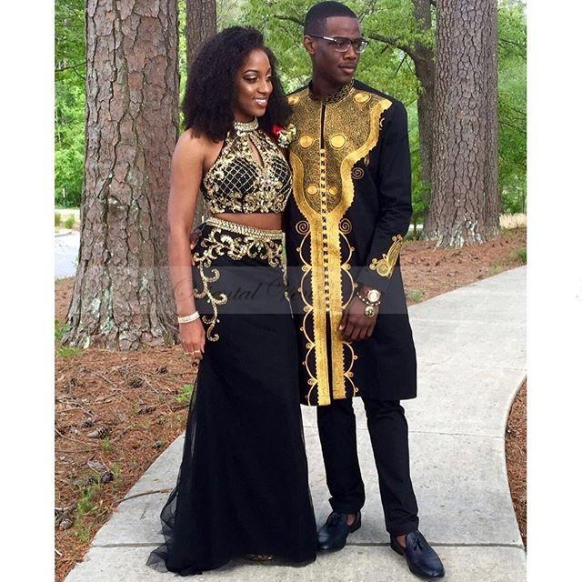 Sparkly Gold Crystal Beaded Mermaid 2 Pieces Prom Dresses 2017 Long ...