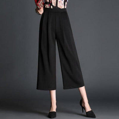 Pants & Capris - 017 high waist wide leg pants fashion loose summer plus size casual capris - Black / S  jetcube