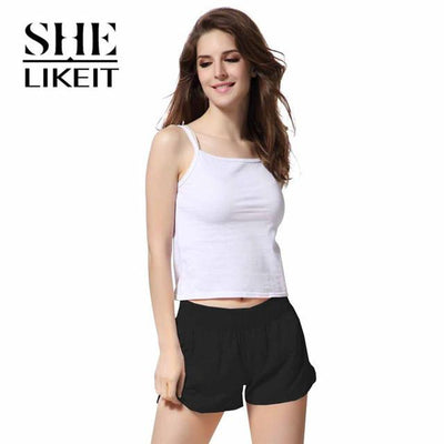 womens shorts - ( 2 Pieces a Lot) Lady Shorts Plus Size Summer Women Candy Colors Trousers Loose Shorts Quick-Drying Soft Workout - Black / L  jetcube