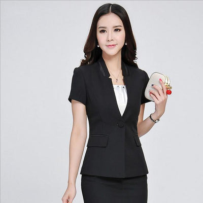 Blazers - 1pcs Women jackets blazers 2017Summer Fashion Cotton blended short sleeves Slim Fit small Suit Jacket Skinny blazers Coat ladies - Black / S  jetcube