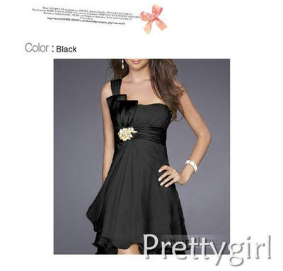 Cocktail Dresses - 0038 white black grass green chiffon 2013 new fashion one shoulder short sexy cocktail dress for party girls - Black / 2  jetcube