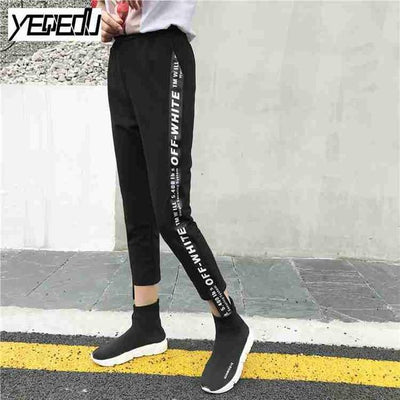 Pants & Capris - #1642 Summer 2017 Loose pantalon femme Punk Thin Side stripe Ankle-length Two side ribbon Casual Hip hop pants Joggers women - Black / M  jetcube