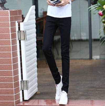 Jeans - #1404 Thin Spring 2017 White jeans men Elasticity Casual jeans hommes Slim fit Skinny jeans men Famous brand Distressed Pencil - Black / 27  jetcube